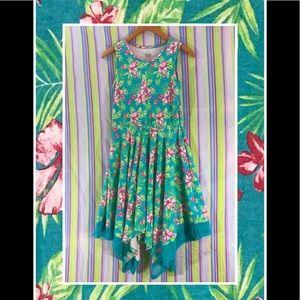 FADED GLORY Tropical Swing sleeveless Hi Lo dress